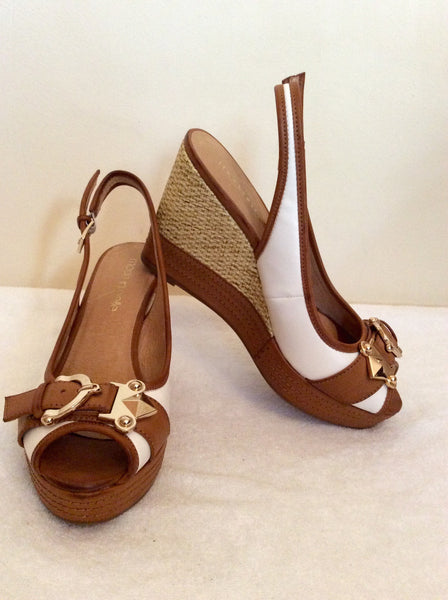 Brand New Moda In Pelle White & Tan Wedge Slingback Heels Size 5/38 - Whispers Dress Agency - Sold - 1