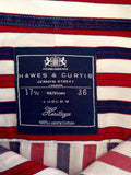 "Hawes & Curtis Red, White & Blue Stripe Cotton Shirt Size 17.5"" - Whispers Dress Agency - Sold - 2"