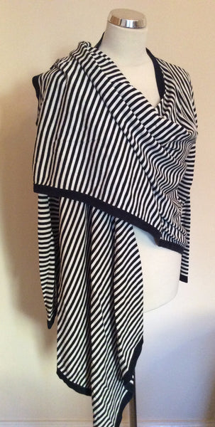 Jaeger Navy Blue & White Striped Cotton Cardigan Size M - Whispers Dress Agency - Sold - 1