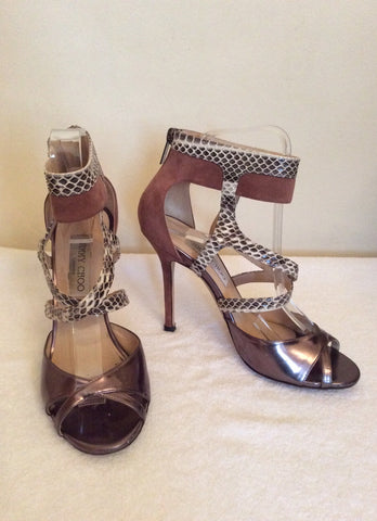 Jimmy Choo Bronze,Snakeskin & Dusky Pink Leather & Suede Sandals Size 4.5/37.5 - Whispers Dress Agency - Sold - 1