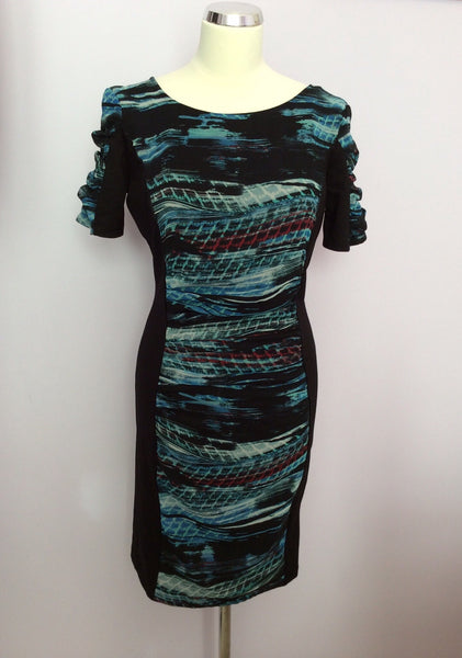 Per Una Black & Blue Print Insert Pencil Dress Size 10 - Whispers Dress Agency - Womens Dresses - 1