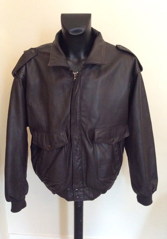 "The Pilot Dark Brown Leather Pilot Jacket Size 54 UK 44"" - Whispers Dress Agency - Mens Coats & Jackets - 1"