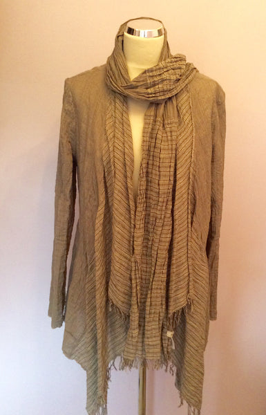 SANDWICH BROWN CHECK CARDIGAN & MATCHING SCARF SIZE 42 UK 14 - Whispers Dress Agency - Womens Tops - 1
