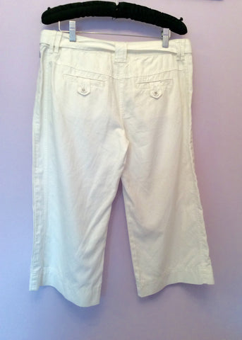 Brand New Monsoon White Cotton & Linen Long Shorts Size 12 - Whispers Dress Agency - Womens Shorts - 2