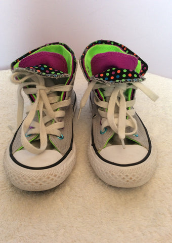 Converse All Star  Double Tongue Polka Dot Spot Grey High Top Trainers Size 11 - Whispers Dress Agency - Girls Footwear - 2
