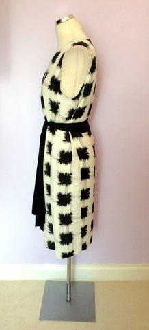 Brand New Jaeger Black & White Print Silk Dress With Tie Belt Size 16 - Whispers Dress Agency - Sold - 2