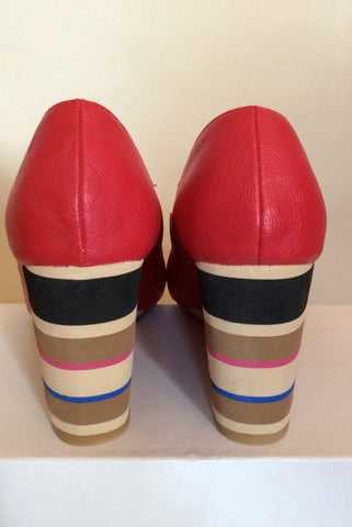 Brand New Red Level Red Peeptoe Striped Wedge Heels Size 7/40 - Whispers Dress Agency - Womens Wedges - 4