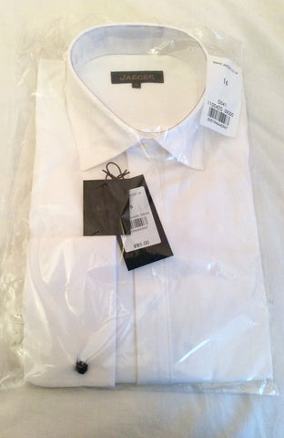 "Brand New Jaeger White Dress Double Cuff Shirt Size 16"" - Whispers Dress Agency - Mens Formal Shirts - 1"