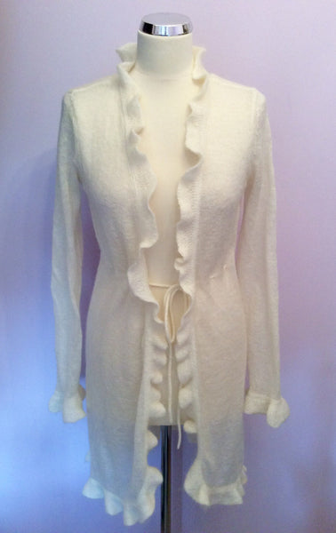 Monsoon Ivory Long Tie Front Cardigan Size M - Whispers Dress Agency - Sold - 1