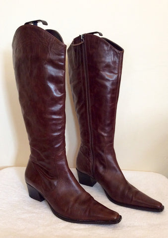 Marks & Spencer Dark Brown Leather Knee High Boots Size 8/42 - Whispers Dress Agency - Womens Boots - 1