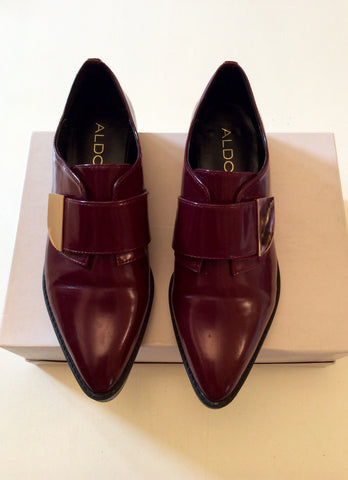 ALDO BURGUNDY VELCRO FASTEN FLAT SHOES SIZE 5.5/38.5 - Whispers Dress Agency - Womens Flats - 2