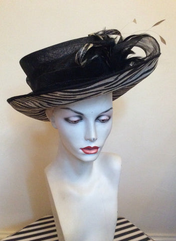 Marks & Spencer Autograph Black & Cream Print Formal Hat - Whispers Dress Agency - Womens Formal Hats & Fascinators - 1