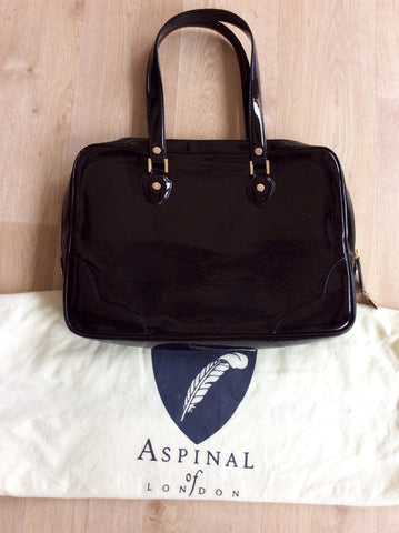 ASPINAL BLACK PATENT LEATHER SOFT LAPTOP TOTE BAG - Whispers Dress Agency - Shoulder Bags - 3