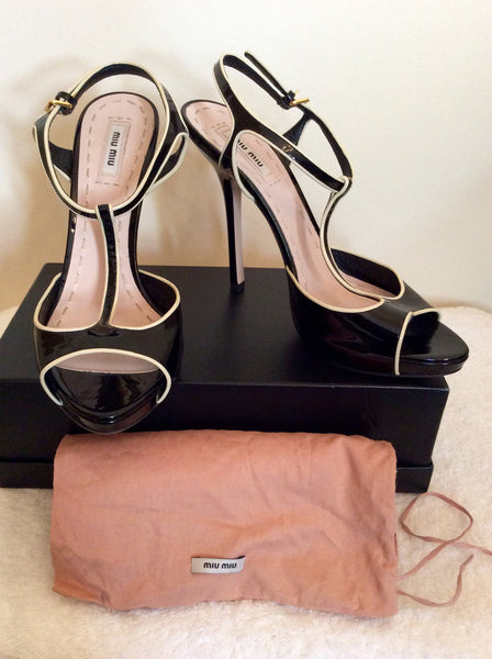 Brand New Miu Miu Black Patent Leather Heels Size 7.5/41 - Whispers Dress Agency - Sold - 1