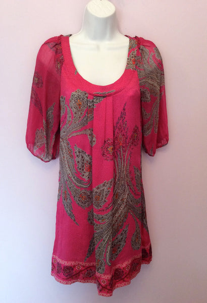 Monsoon Hot Pink & Grey Print Silk Shift Dress Size 8 - Whispers Dress Agency - Womens Dresses - 1