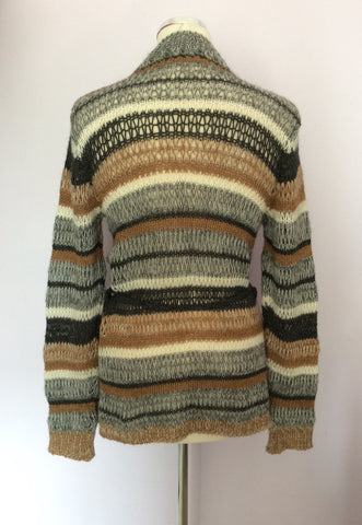 OUI MOMENTS TAN,CREAM & GREY STRIPE WOOL CARDIGAN SIZE S - Whispers Dress Agency - Womens Knitwear - 2