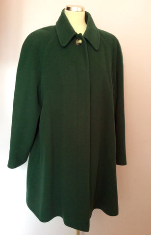 Austin Reed Dark Green Wool & Cashmere Blend Coat Size 16 - Whispers Dress Agency - Womens Coats & Jackets - 1