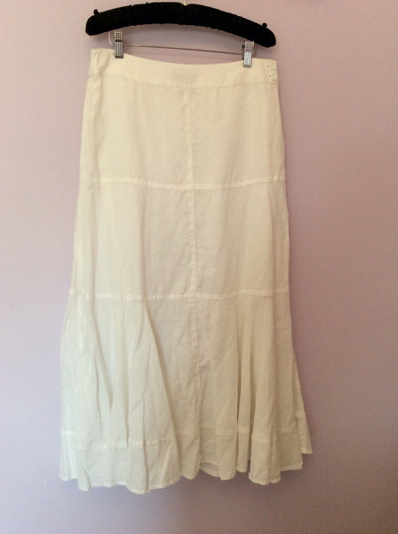 Fenn Wright Manson White Linen Long Skirt Size 12 - Whispers Dress Agency - Womens Skirts - 1