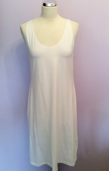 Brand New Crea Concept White Cotton Stretch Dress Size 44 UK 12 - Whispers Dress Agency - Sold - 1