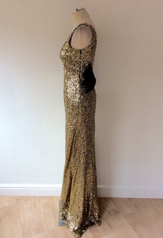 NAZZ COLLECTION GOLD SEQUINED WITH BLACK BOW LONG EVENING DRESS SIZE 12 - Whispers Dress Agency - Sold - 4