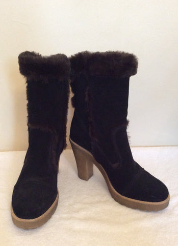 Carvela Dark Brown Suede & Faux Fur Trim Ankle Boots Size 5/38 - Whispers Dress Agency - Womens Boots - 1