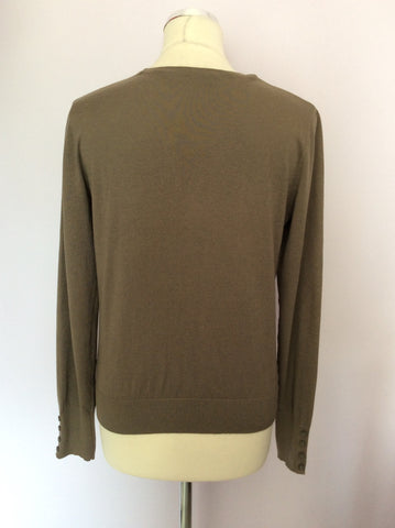BETTY BARCLAY KHAKI GREEN V NECK CARDIGAN SIZE S - Whispers Dress Agency - Womens Knitwear - 3