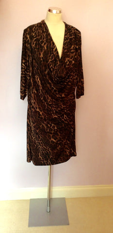 BRAND NEW BIBA BROWN LEOPARD PRINT COWL DRESS SIZE 16 - Whispers Dress Agency - Womens Dresses - 1