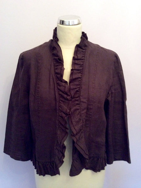 Mandolin Brown Linen Jacket Size 14 - Whispers Dress Agency - Womens Coats & Jackets - 1