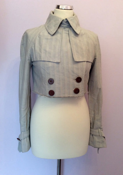All Saints Pale Grey Cotton Crop Jacket Size S - Whispers Dress Agency - Sold - 1