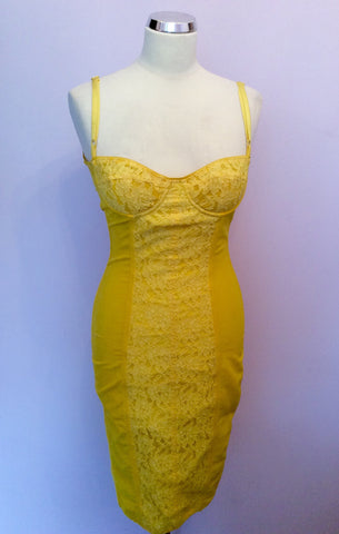 Dolce & Gabbana Yellow Lace Trim Corset Dress Size 6/8 - Whispers Dress Agency - Sold - 1