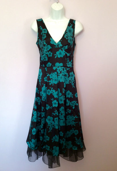 Hobbs Black & Emerald Green Floral Print Silk Dress Size 8 - Whispers Dress Agency - Womens Special Occasion - 1