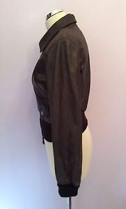 Aviatrix Dark Brown Leather Zip Up Jacket Size L - Whispers Dress Agency - Womens Coats & Jackets - 2