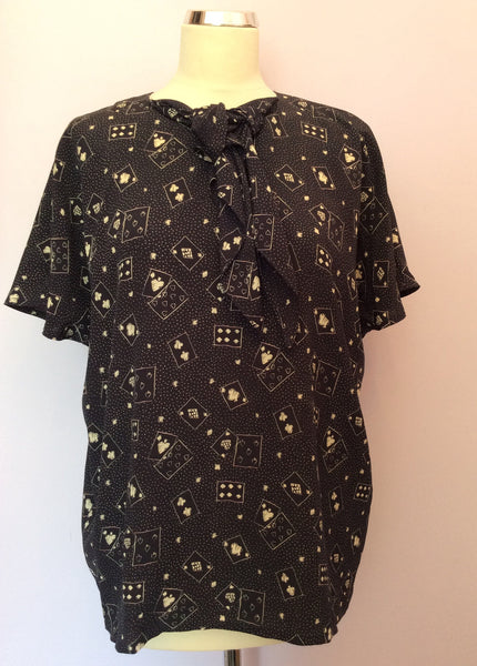 "Vintage Jaeger Dark Blue Print Blouse Size 36"" Approx 12/14 - Whispers Dress Agency - Sold - 1"