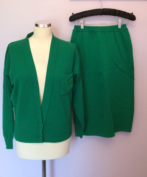 Vintage Jaeger Green Cardigan & Knit Skirt Size S - Whispers Dress Agency - Sold - 1