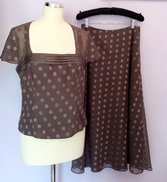 ALEX & CO BROWN SPOT TOP & SKIRT SIZE 12/14 - Whispers Dress Agency - Womens Suits & Tailoring - 1