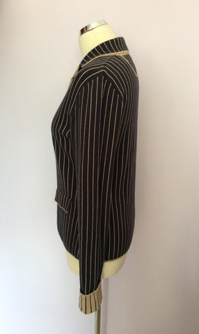 BETTY BARCLAY DARK BLUE & BEIGE PINSTRIPE KNIT JACKET SIZE 10/12 - Whispers Dress Agency - Womens Coats & Jackets - 2