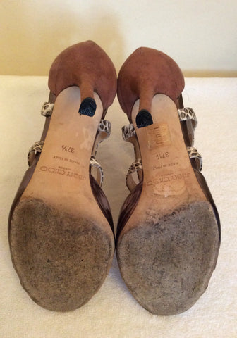 Jimmy Choo Bronze,Snakeskin & Dusky Pink Leather & Suede Sandals Size 4.5/37.5 - Whispers Dress Agency - Sold - 6