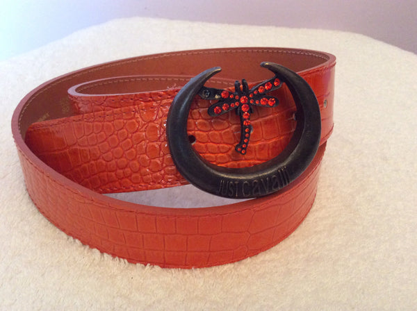 Just Cavalli Orange Croc Leather Dragonfly Buckle Belt Size L - Whispers Dress Agency - Sold - 1