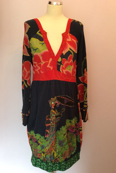 Desigual Multi Coloured Print Dress Size XL - Whispers Dress Agency - Sold - 1