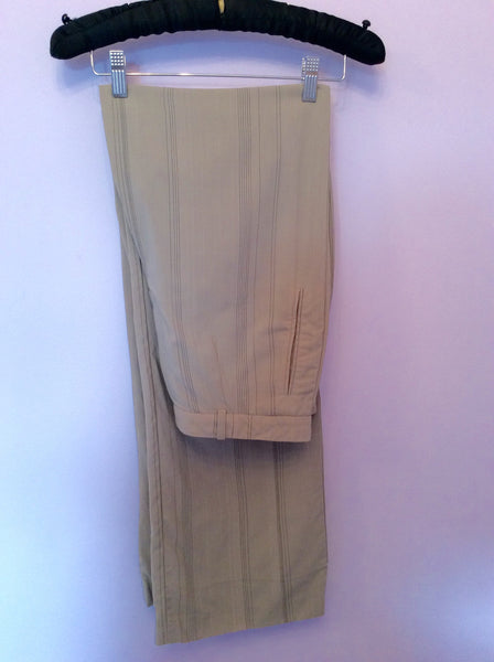 Kenzo Beige Pinstripe Trousers Size 42 Fit UK 12 - Whispers Dress Agency - Womens Trousers - 1