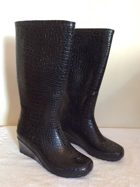Black Crocodile Print Wedge Heel Wellington Boots Size 6/39 - Whispers Dress Agency - Sold - 1