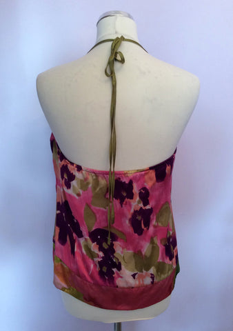 JOSEPH PINK,GREEN & PURPLE PRINT SILK HALTERNECK TOP SIZE M - Whispers Dress Agency - Womens Tops - 2