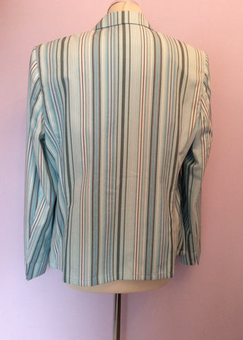 BASLER LIGHT AQUA BLUE,WHITE & DARK BLUE STRIPE COTTON JACKET SIZE 18 - Whispers Dress Agency - Womens Coats & Jackets - 3