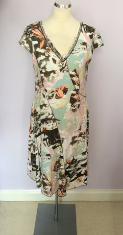 BETTY BARCLAY MULTICOLOURED PRINT V NECK DRESS SIZE 12 - Whispers Dress Agency - Womens Dresses - 1