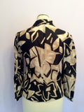 Betty Barclay Collection Black & Light Brown Print Cotton & Linen Jacket Size 8 - Whispers Dress Agency - Womens Coats & Jackets - 3