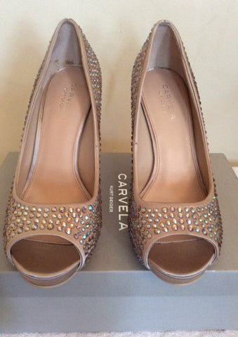 Brand New Carvela Nude Satin Jewel Trim Peeptoe Heels Size 6/39 - Whispers Dress Agency - Womens Heels - 2