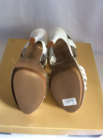 Brand New Carvela Ghostly White Leather Heeled Sandals Size 6/39 - Whispers Dress Agency - Womens Sandals - 4