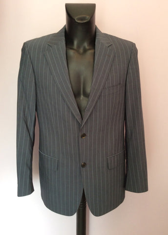Hugo Boss Grey Pinstripe Wool Suit Size 38R /36W - Whispers Dress Agency - Mens Suits & Tailoring - 2