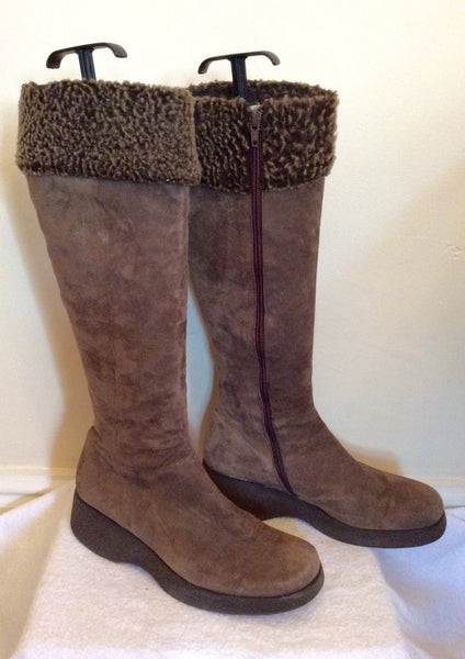 Jigsaw Light Brown Suede Knee High Faux Fur Trim Boots Size 6/39 - Whispers Dress Agency - Womens Boots - 1