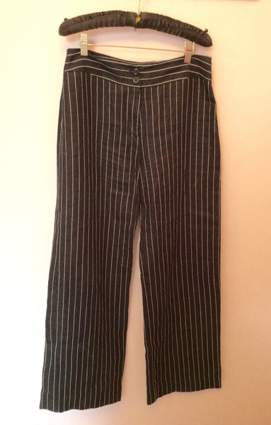 Hobbs Navy Blue & White Pinstripe Linen Trousers Size 12 - Whispers Dress Agency - Womens Trousers - 1